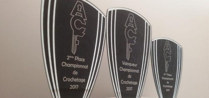 trophées Vainqueur, deuxième place, troisième place, Championnat de crochetage 2017